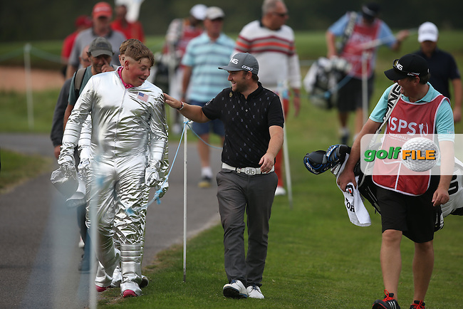SHOT OF THE DAY .. Major Tom and his mate turn out for Andy Sullivan (ENG) during Round One of the ISPS Handa Wales Open 2014 from the Celtic Manor Resort, Newport, South Wales. Picture:  David Lloyd / www.golffile.ie