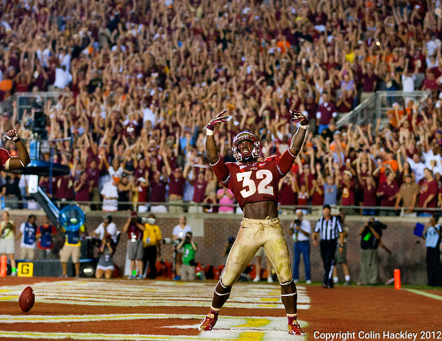 TALLAHASSEE, FL 9/22/12-FSU-CLEMSON092212CH-Florida State's James Wilder, Jr. celebrates his touchdown against Clemson during fourth quarter action Saturday at Doak Campbell Stadium in Tallahassee. The Seminoles beat the Tigers 49-37. .COLIN HACKLEY PHOTO