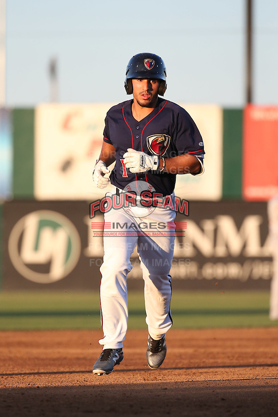 Ramon Laureano (1) of the Lancaster JetHawks runs the bases during a game against the San Jose Giants during the second game of a doubleheader at The Hanger on July 14, 2016 in Lancaster, California. Lancaster defeated San Jose, 3-0. (Larry Goren/Four Seam Images)