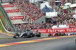 26.08.2018, Circuit de Spa-Francorchamps, Spa-Franchorchamps, FORMULA 1 2018 JOHNNIE WALKER BELGIAN GRAND PRIX, 23. - 26.08.2018<br /> , im Bild<br />Rennstart:<br />Lewis Hamilton (GB#44), Mercedes AMG Petronas Formula One Team, Sebastian Vettel (GER#5), Scuderia Ferrari, Esteban Ocon (FRA#31), Racing Point Force India Formula One Team, Sergio Perez (MEX#11), Racing Point Force India F1 Team, Max Verstappen (NEL#33), Aston Martin Red Bull Racing, Romain Grosjean (FRA#8), Haas F1 Team, Kevin Magnussen (DNK#20), Haas F1 Team<br /> <br /> Foto &copy; nordphoto / Bratic