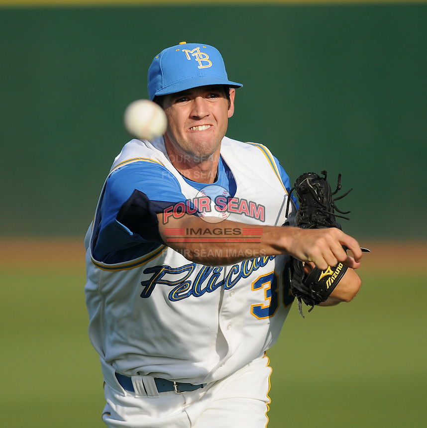 July 7, 2008: RHP Cory Gearrin (38) of the Myrtle Beach Pelicans, Class A affiliate of the Atlanta Braves, in a game against the Wilmington Blue Rocks at BB&T Coastal Field in Myrtle Beach, S.C. Photo by:  Tom Priddy/Four Seam Image