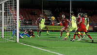 Exeter City's Reuben Reid sees his shot spin across goal during the Sky Bet League 2 match between Crawley Town and Exeter City at Broadfield Stadium, Crawley, England on 28 February 2017. Photo by Carlton Myrie / PRiME Media Images.