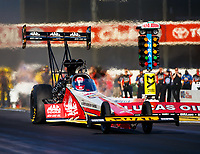 Feb 11, 2018; Pomona, CA, USA; NHRA top fuel driver Doug Kalitta during the Winternationals at Auto Club Raceway. Mandatory Credit: Mark J. Rebilas-USA TODAY Sports