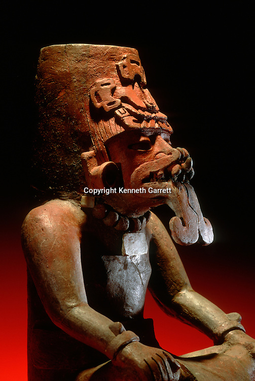 Funerary urn brought to Teotihuacan from Oaxaca, by Zapotec who settled in a barrio near city, National Museum of Anthropology, INAH, Mexico