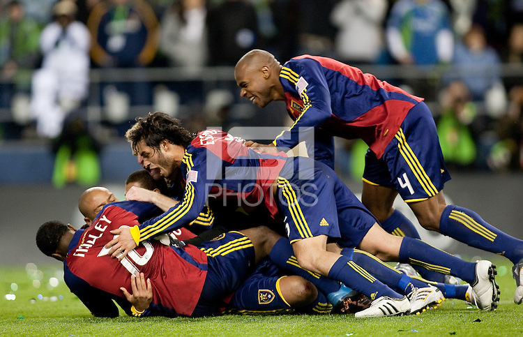 SEATTLE, WA--Real Salt Lake teammates Robbie Findley, Jamison Olave, and Fabian Espindola  celebrate their victory during the MLS Cup championships at Qwest field in Seattle. SUNDAY, NOVEMBER 22, 2009. PHOTO BY DON FERIA.