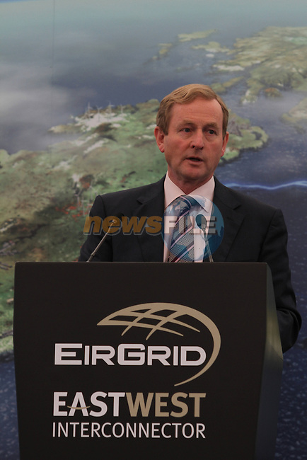 Taoiseach Enda Kenny arrives at The Official Opening of the East West Interconnector at Batterstown...Photo NEWSFILE/Jenny Matthews.