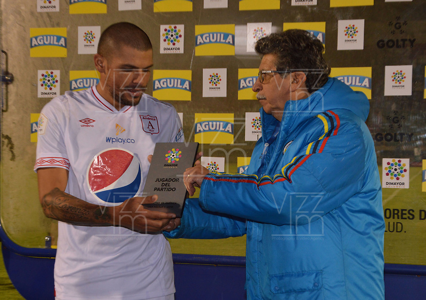 TUNJA- COLOMBIA, 03-02-2019:Figura del Encuentro.Acción de Juego entre los equipos Patriotas Boyacá y El América de Cali   durante partido por la fecha 3 de la Liga Águila I  2019 jugado en el estadio La Independencia de la ciudad de Tunja. /Action game between Patriotas Boyaca and America of Cali during the match for the date 3 of the Liga Aguila I 2019 played at the La Independencia stadium in Tunja city. Photo: VizzorImage / José Miguel Palencia / Contribuidor