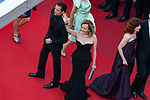 70eme Festival International du Film de Cannes. Montee de la ceremonie de cloture, vues du toit du Palais . 70th International Cannes Film Festival. Vew from rof top of closing red carpet<br />  Brody, Adrien; Scheufele-Gruosi, Caroline