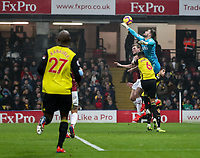 Watford's Ben Foster saves under pressure from Burnley's Chris Wood<br /> <br /> Photographer Andrew Kearns/CameraSport<br /> <br /> The Premier League - Watford v Burnley - Saturday 19 January 2019 - Vicarage Road - Watford<br /> <br /> World Copyright © 2019 CameraSport. All rights reserved. 43 Linden Ave. Countesthorpe. Leicester. England. LE8 5PG - Tel: +44 (0) 116 277 4147 - admin@camerasport.com - www.camerasport.com