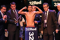 Hiram Gallardo on the scales during a Weigh In at the BT Studios, Queen Elizabeth Olympic Park on 12th July 2019