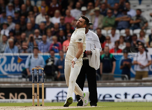 26th August 2017, Headingley, Leeds, England; International Test Match Series, Day 2; England versus West Indies; James Anderson of England took two wickets in the first hour's play as he edged closer to his 500th test wicket