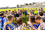 John Galvin Kenmare manager talks to his team after they defeated Rathmore in the Senior County Football Semi Final in Fitzgerald Stadium on Sunday.
