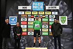 Giacomo Nizzolo (ITA) NTT Pro Cycling Team takes over the Green Jersey on the podium at the end of Stage 3 of the 78th edition of Paris-Nice 2020, running 212.5km from Chalette-sur-Loing to La Chatre, France. 10th March 2020.<br /> Picture: ASO/Fabien Boukla | Cyclefile<br /> All photos usage must carry mandatory copyright credit (© Cyclefile | ASO/Fabien Boukla)