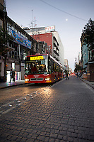 Metrobus public transportation in the Centro Historico of Mexico City.