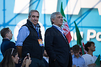 """(From L to R) Maurizio Gasparri MP (Member of Parliament for Forza Italia) & Antonio Tajani MEP (Member of the European Parliament for Forza Italia, former President of the European Parliament).<br /> <br /> Rome, 19/10/2019. Today, tens thousands of people (200,000 for the organisers, 50,000 for the police) gathered in Piazza San Giovanni to attend the national demonstration """"Orgoglio Italiano"""" (Italian Pride) of the far-right party Lega (League) of Matteo Salvini. The demonstration was supported by Silvio Berlusconi's party Forza Italia and Giorgia Meloni's party Fratelli d'Italia (Brothers of Italy, right-wing).  <br /> The aim of the rally was to protest against the Italian coalition Government (AKA Governo Conte II, Conte's Second Government, Governo Giallo-Rosso, 1.) lead by Professor Giuseppe Conte. The 66th Government of Italy is a coalition between Five Star Movement (M5S, 2.), Democratic Party (PD – Center Left, 3.), and Liberi e Uguali (LeU – Left, 4.), these last two parties replaced Lega / League as new members of a coalition based on Parliamentarian majority as stated in the Italian Constitution. The Governo Conte I (Conte's First Government, 5.) was 14-month-old when, between 8 and 9 of August 2019, collapsed after the Interior Minister Matteo Salvini withdrew his euroskeptic, anti-migrant, right-wing Lega / League (6.) from the populist coalition in a pindaric attempt (miserably failed) to trigger a snap election.<br /> <br /> Footnotes & Links:<br /> 1. http://bit.do/feK6N<br /> 2. http://bit.do/e7JLx<br /> 3. http://bit.do/e7JKy<br /> 4. http://bit.do/e7JMP<br /> 5. http://bit.do/e7JH7<br /> 6. http://bit.do/eE7Ey<br /> https://www.leganord.org<br /> http://bit.do/feK9X (Source, TheGuardian.com)<br /> Reportage: """"La Fabbrica Della Paura"""" (The Factory of Fear): http://bit.do/feLcy (Source Report, Rai.it - ITA)<br /> (Update) Reportage: """"La Fabbrica Social Della Paura"""" (The Social Network Factory of Fear): http://bit.do/fe8Pn (Source Report, Rai.it -"""