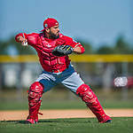 25 February 2016: Washington Nationals catcher Jhonatan Solano works drills during the first full squad Spring Training workout at Space Coast Stadium in Viera, Florida. Mandatory Credit: Ed Wolfstein Photo *** RAW (NEF) Image File Available ***