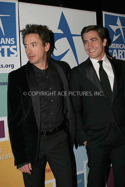 WWW.ACEPIXS.COM . . . . .  ....NEW YORK, OCTOBER 16, 2006....Robert Downey Jr. and Jake Gyllenhaal at the 'Americans For The Arts Present The National Arts Awards'....Please byline: NANCY RIVERA- ACEPIXS.COM.... *** ***..Ace Pictures, Inc:  ..Craig Ashby (212) 243-8787..e-mail: picturedesk@acepixs.com..web: http://www.acepixs.com