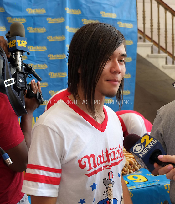 WWW.ACEPIXS.COM<br /> <br /> July 3 2015, New York City<br /> <br /> Matt Stonie at the weigh-in for the annual Nathan's Hotdog Eating Contest at Brooklyn Brorough Hall on July 3 2015 in New York City<br /> <br /> By Line: Curtis Means/ACE Pictures<br /> <br /> <br /> ACE Pictures, Inc.<br /> tel: 646 769 0430<br /> Email: info@acepixs.com<br /> www.acepixs.com