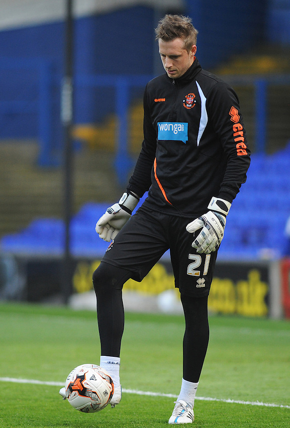 Blackpool's Elliott Parish during the pre-match warm-up <br /> <br /> Photographer Kevin Barnes/CameraSport<br /> <br /> Football - The Football League Sky Bet Championship - Ipswich Town v  Blackpool - Saturday 11th April 2015 - Portman Road - Ipswich<br /> <br /> &copy; CameraSport - 43 Linden Ave. Countesthorpe. Leicester. England. LE8 5PG - Tel: +44 (0) 116 277 4147 - admin@camerasport.com - www.camerasport.com