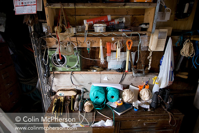A salmon net fisherman's equipment at his bothy at Armadale, Sutherland belonging to James Mackay. He was one of the last remaining fishermen who caught wild Atlantic salmon using traditional methods. His fishery was one of the few remaining in Sutherland in the far north west of Scotland.