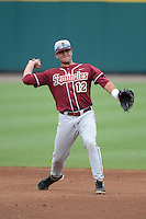 Florida State Seminoles second baseman John Sansone (12) during a game against the South Florida Bulls on March 5, 2014 at Red McEwen Field in Tampa, Florida.  Florida State defeated South Florida 4-1.  (Mike Janes/Four Seam Images)