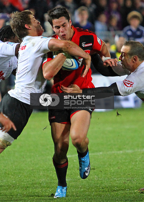 Sean Maitland's strong run set up the opening Crusader's try for SBW. Investec Super Rugby - Crusaders v Sharks, 25 June 2011, Trafalgar Park, Nelson, New Zealand<br /> Photo: Marc Palmano/shuttersport.co.nz