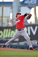 Frisco Rough Riders pitcher Luke Jackson (7) delivers a pitch during the second game of a doubleheader against the Tulsa Drillers on May 29, 2014 at ONEOK Field in Tulsa, Oklahoma.  Frisco defeated Tulsa 3-2.  (Mike Janes/Four Seam Images)