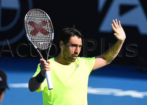 12.01.2017. ASB Tennis Centre, Auckland, New Zealand. ASB Classic Tennis, Day 13. Marcos Baghdatis celebrates his win during the ASB Classic.