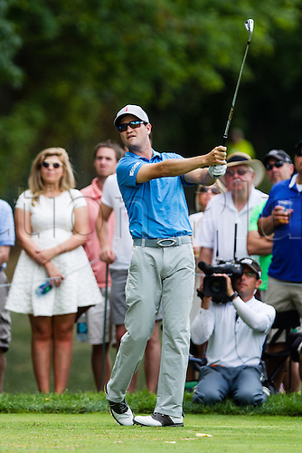 August 30, 2015: Zach Johnson follows his tee shot after hitting from the 6th tee during the final round of The Barclays at Plainfield Country Club in Edison, NJ.
