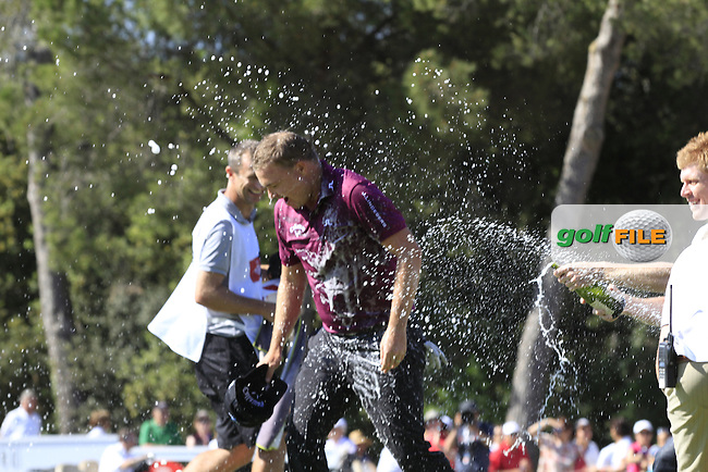 James Morrison (ENG) celebrates winning the Open de Espana  in Club de Golf el Prat, Barcelona on Sunday 17th May 2015.<br /> Picture:  Thos Caffrey / www.golffile.ie