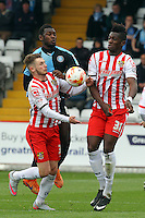 Matt Bloomfield of Wycombe Wanderers in action during the Sky Bet League 2 match between Stevenage and Wycombe Wanderers at the Lamex Stadium, Stevenage, England on 17 October 2015. Photo by PRiME Media Images.