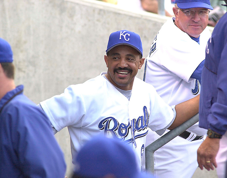 Kansas City Royals new manager Tony Pena in the dougout before the game.  The Minnesota Twins won 8-6.