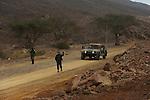 Israeli soldiers patrol Israel-Egypt border.