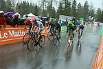 The peloton in action near the finish of Stage 4 of the 2016 Tour de Romandie, running 173.2km from Conthey to Villars, Switzerland. 30th April 2016.<br /> Picture: Heinz Zwicky | Newsfile<br /> <br /> <br /> All photos usage must carry mandatory copyright credit (© Newsfile | Heinz Zwicky)