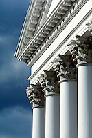 Rotunda detail showing ionic capitals and columns, pediment, .#5135. Charlottesville Virginia, University of Virginia.