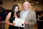 Stan and Suzanne St. Pierre Scholarship Winner, Yessica Hernandez and donor Stan St. Pierre at the 2011 Aldine Scholarship Foundation Scholarship Ceremony at Lone Star College - North Harris.