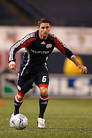 New England Revolution defender Jay Heaps (6). The New York Red Bulls and the New England Revolution played to a 1-1 tie during a Major League Soccer match at Giants Stadium in East Rutherford, NJ, on April 19, 2008.
