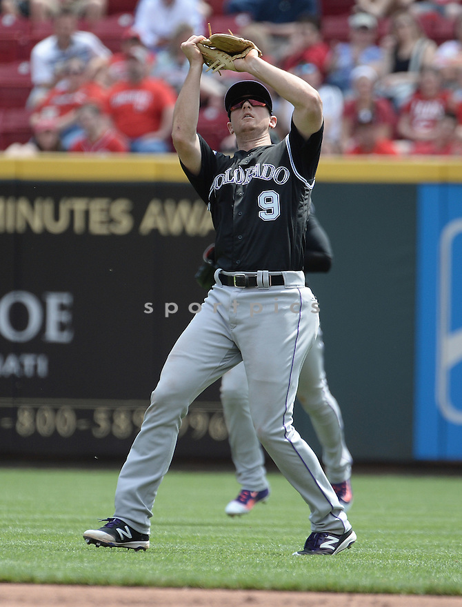 Colorado Rockies DJ LeMahieu (9) during a game against the Cincinnati Reds on April 20, 2016 at the Great American Ball Park in Cincinnati, OH. The Reds beat the Rockies 6-5.