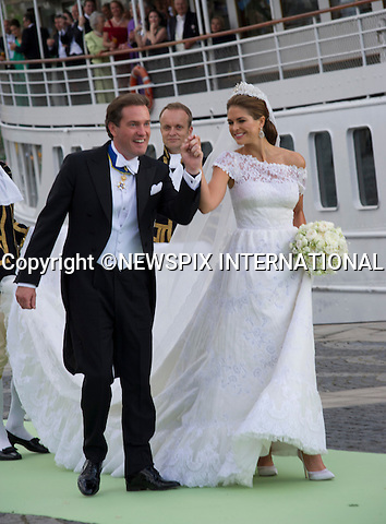 PRINCESS MADELEINE AND CHRISTOPHER O'NEILL WEDDING<br /> The Bridal Couple and Guests arrive for a boat ride to Drottingholm Palace for the Wedding Banquet Riddarholmen, Stockholm, Sweden_08/06/2013<br /> Mandatory Credit Photo: &copy;Francis Dias/NEWSPIX INTERNATIONAL<br /> <br /> **ALL FEES PAYABLE TO: &quot;NEWSPIX INTERNATIONAL&quot;**<br /> <br /> IMMEDIATE CONFIRMATION OF USAGE REQUIRED:<br /> Newspix International, 31 Chinnery Hill, Bishop's Stortford, ENGLAND CM23 3PS<br /> Tel:+441279 324672  ; Fax: +441279656877<br /> Mobile:  07775681153<br /> e-mail: info@newspixinternational.co.uk