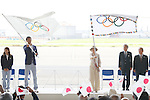 (L-R) Keisuke Ushiro (JPN),  Yuriko Koike, AUGUST 24, 2016 : The Olympic flag welcoming ceremony at Haneda Airport in Tokyo, Japan. The Olympic flag was received to Tokyo governor from IOC President at the Rio de Janeiro 2016 Olympic Games closing ceremony on August 21. Tokyo is host of the 2020 Olympic games. (Photo by Sho Tamura/AFLO SPORT)
