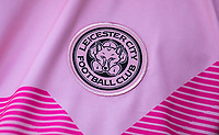 Leicester City badge on the Pink away shirt during the Premier League match between Leicester City and Wolverhampton Wanderers at the King Power Stadium, Leicester, England on 10 August 2019. Photo by Andy Rowland.