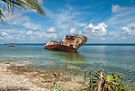 The Van Camp shipwreck in Funafuti, Tuvalu. It was blown ashore during hurricane Bebe on October 21, 1972.