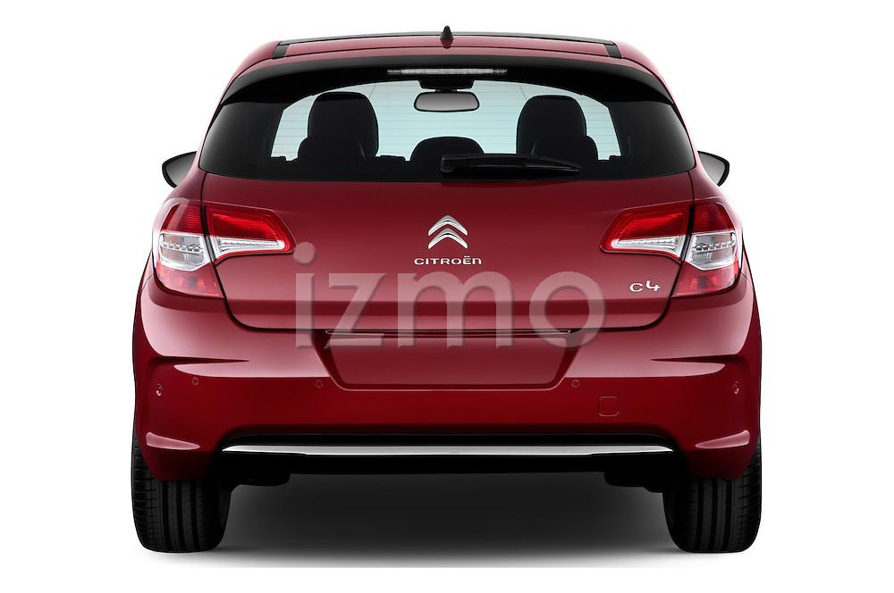Straight rear view of a 2013 Citroen C4 Exclusive 5 Door Hatchback 2WD