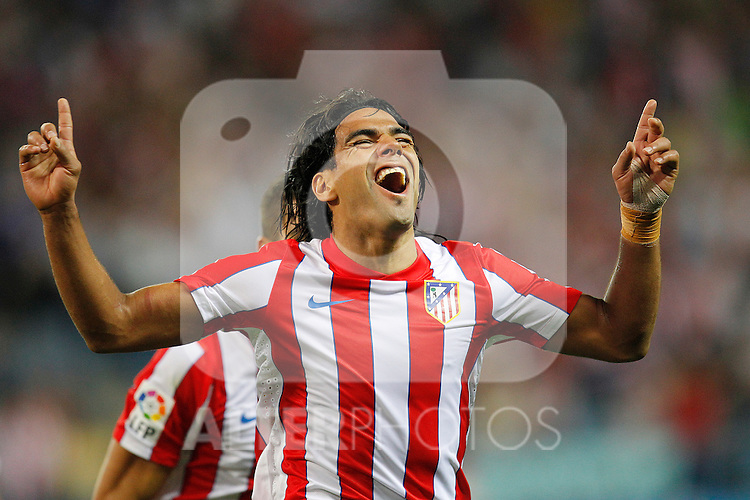 Atletico de Madrid's Radamel Falcao Garcia celebrates goal during la Liga match on september 21st, 2011..Photo: Cesar Cebolla / ALFAQUI