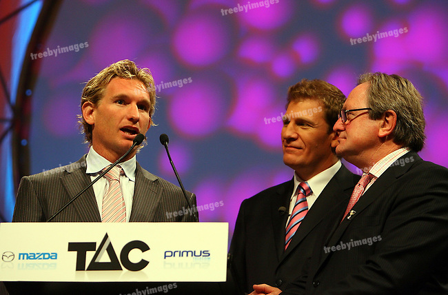 The Grand Final Breakfast, Melbourne Exhibition Centre 29-9-07, Left to Right James Hird, Michael Christian, Kevin Sheedy..