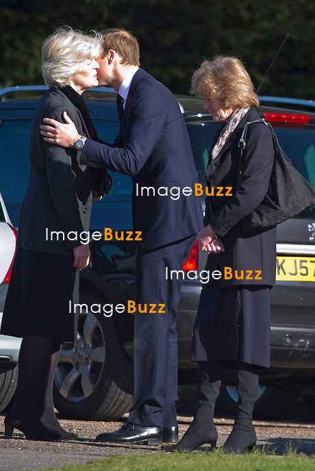 PRINCE WILLIAM.attends the funeral of his nanny Olga Powell, who died recently at the age of 82-years old. The service was held at Harlow Cremotorium, Harlow, Essex.Princess Diana's sisters Lady Jane Fellowes and Lady sarah McCorquadale were also present. 10/10/2012..