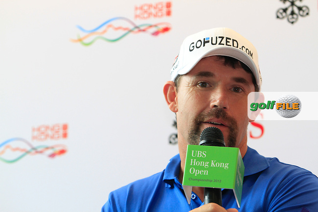 "Three-time Major Winner Padraig Harrington (IRL) during the ""Meet the Players"" Press Conference and Photo Call held at the Pearl on the Peak, The Peak Tower, Hong Kong ahead of the UBS Hong Kong Open 2012, Hong Kong Golf Club, Fanling, Hong Kong. 13/11/12...(Photo Jenny Matthews/www.golffile.ie)"