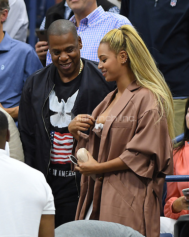 FLUSHING NY- SEPTEMBER 01: Jay Z and Beyonce seen watching Serena Williams Vs Vania King on Arthur Ashe Stadium at the USTA Billie Jean King National Tennis Center on September 1, 2016 in Flushing, Queens. Credit: mpi04/MediaPunch