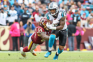Landover, MD - October 14, 2018: Carolina Panthers wide receiver DJ Moore (12) catches a pass during the  game between Carolina Panthers and Washington Redskins at FedEx Field in Landover, MD.   (Photo by Elliott Brown/Media Images International)
