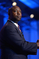 October 11, 2013  (Washington, DC)   Senator Tim Scott (R-SC) addresses attendees at the Family Research Council's Values Voter Summit October 11, 2013.  (Photo by Don Baxter/Media Images International)